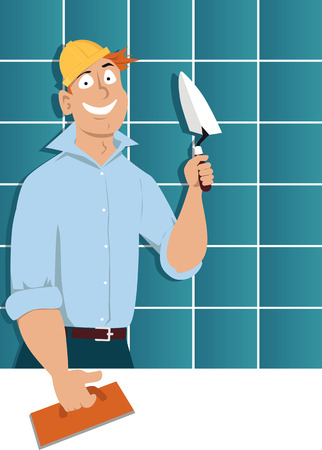 Man with a trowel and a tiling float standing in front of a wall covered with ceramic tiles vector illustration.