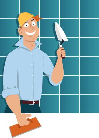 Mens met een troffel en een het betegelen vlotter die zich voor een muur bevinden die met keramische tegels vectorillustratie wordt behandeld.