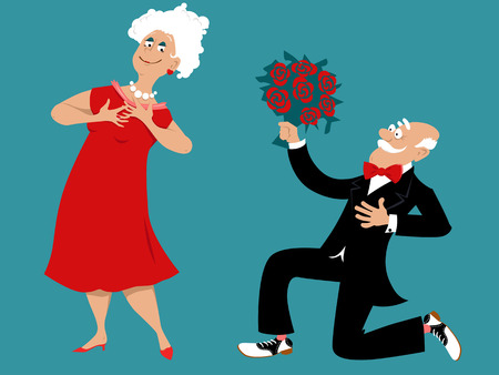 Senior man kneeling with a bouquet of roses, asking lady out vector illustration.