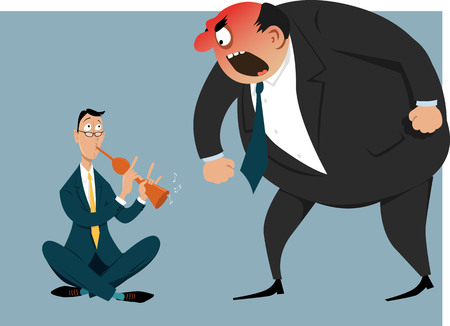 Snake charmer attempting to hypnotize enraged boss or bully coworker, EPS 8 vector illustration