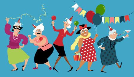 Les dames d'âge mûr célèbrent l'anniversaire ou d'autres vacances ensemble, illustration vectorielle EPS 8 Vecteurs