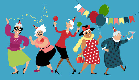 Mature ladies celebrate birthday or other holiday together, EPS 8 vector illustration Çizim
