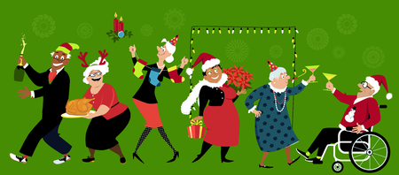Group of senior citizens celebration Christmas, EPS 8 vector illustration