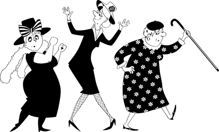 Vector ilustración de silueta negra de tres mujeres mayores bailando, sin objetos blancos, aislado, EPS 8 Ilustración de vector