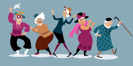 Group of active senior women dancing, EPS 8 vector illustration Vettoriali