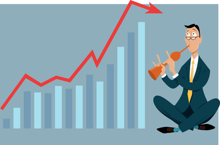 Businessman snake charmer trying to influence a graph representing a business data, EPS 8 vector illustration