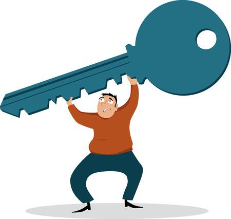 Struggling man holding a giant key as a metaphor of mortgage, EPS 8 vector illustration Ilustração