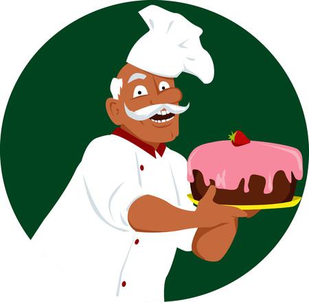 Mature black man in chefs uniform holding a cake, EPS vector illustration Illustration