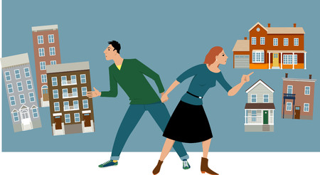 Young couple deciding between a condo and a house, EPS 8 vector illustration