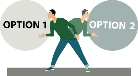 Man hesitates between two option in a process of decision making, EPS 8 vector illustration