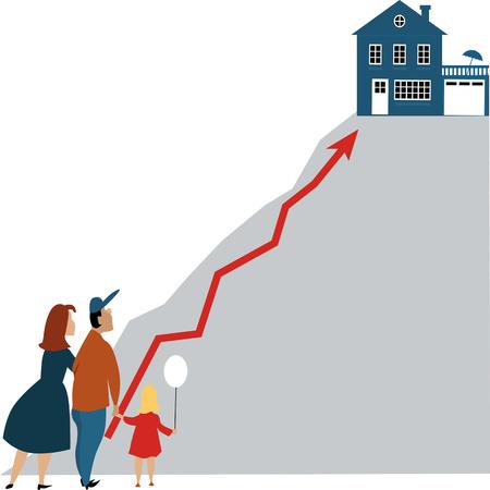 Jong gezin op zoek naar een droomhuis op de top van een steile heuvel.