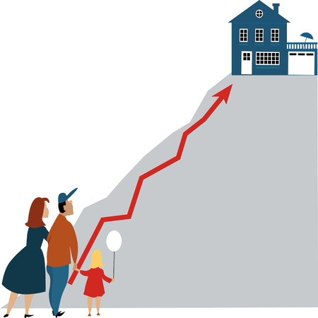 Young family looking at a dream home at the top of a steep hill. Illustration