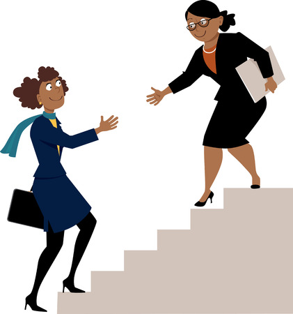 Mature african-american business woman offering a hand to a young protegee, going upstairs.