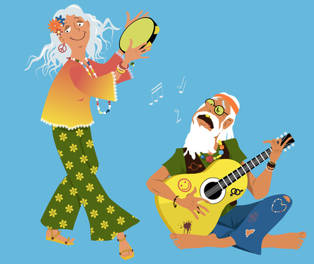 Old hippie couple playing guitar and dancing, EPS 8 vector illustration Illustration