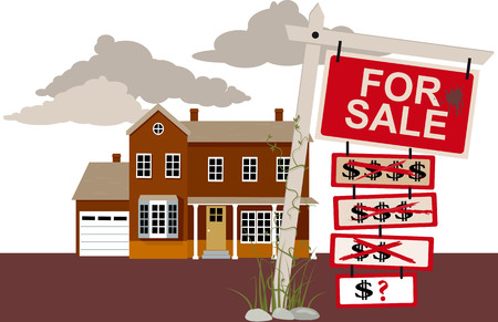 Sale sign with reduced price tags in front of a house, EPS 8 vector illustration Çizim