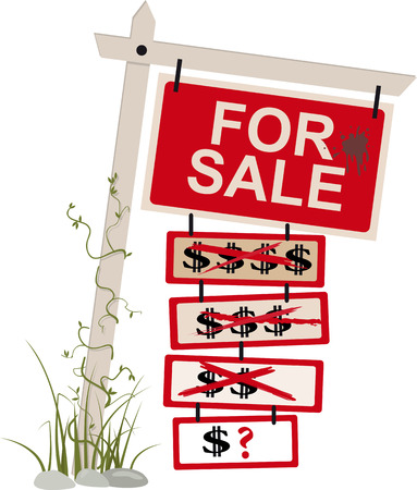 For sale sign with multiple tags showing a reduced price, EPS 8 vector illustration, isolated