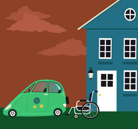 Accessible home and car for a person with limited mobility, vector illustration