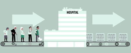 Line of patients moving to hospital on a conveyor belt, block of information coming out, vector illustration