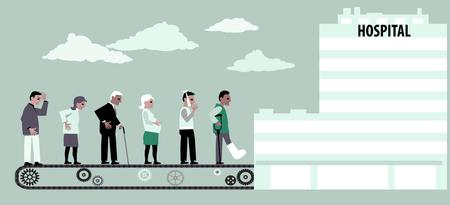 Lijn van patiënten die zich naar het ziekenhuis op een transportband verplaatsen, EPS 8 vectorillustratie Vector Illustratie