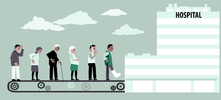 Line of patients moving to hospital on a conveyor belt, EPS 8 vector illustration
