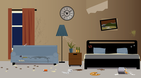 Dirty hotel room interior, EPS 8 vector illustration, no transparencies