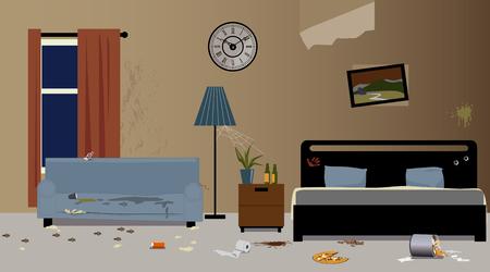 Intérieur de la chambre d'hôtel sale, illustration vectorielle EPS 8, pas de transparences