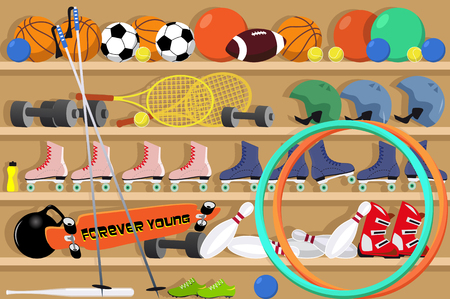 Shelves filled with sport equipment in a school gym, EPS 8 vector illustration
