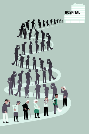 Long line of patients going to a hospital, EPS 8 vector illustration