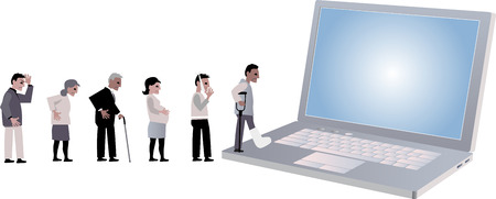 Line of people looking for medical help coming to a laptop, EPS 8 vector illustration Foto de archivo - 90434496