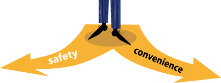 Person choosing between safety and convenience, EPS 8 vector illustration