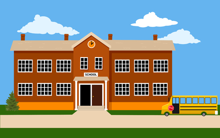 Exterior of a school building with a school bus up front, EPS 8 vector illustration