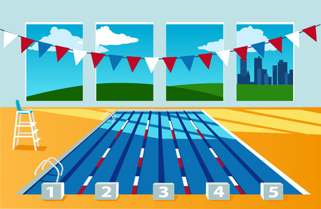 Interior of a competition swimming pool, no people, city landscape behind the window, EPS 8 vector illustration, no transparencies Illustration