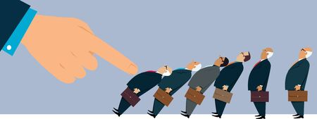 Domino effect demonstrated on executive businessmen, EPS 8 vector illustration 矢量图像