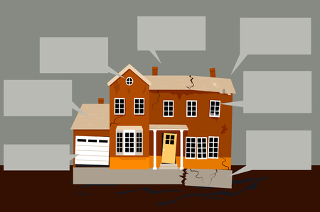 Exterior of a house in need of multiple repairs with empty text bubbles on the background, EPS 8 vector illustration. Illustration