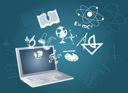 Open laptop computer with symbols of fields of study flying out, EPS 8 vector illustration, no transparencies Vectores