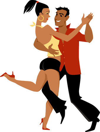 Young Latin couple dancing salsa or bachata, EPS 8 vector illustration, no transparencies, isolated on white