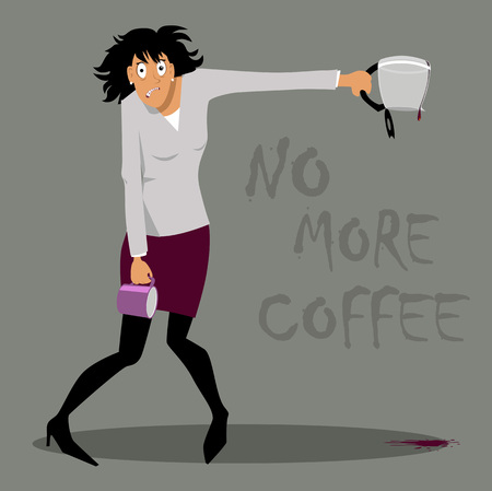 Enraged woman with an empty coffee pot and mug, suffering from coffee withdrawal or overdose, EPS 8 vector illustration