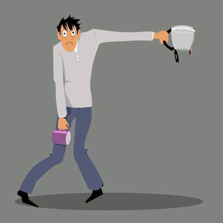 Exhausted man holding an empty coffee pot and a mug, struggling with coffee withdrawal or overdose, EPS 8 vector illustration