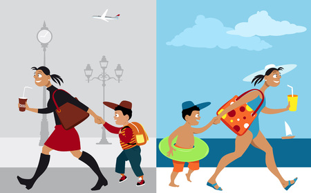 Mother bringing her son to school vs going on vacation Illustration