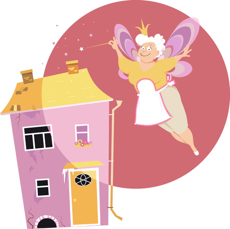 Senior woman with fairy wings and magic wand turning a dingy house beautiful,   vector illustration Ilustração