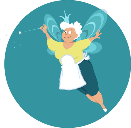 Modern fairy godmother or grandma with wings and magic wand, EPS 8 vector illustration