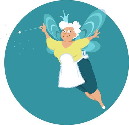 Moderne feenhafte Patin oder Großmutter mit Flügeln und Zauberstab, Vektorillustration ENV 8
