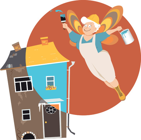 Mature woman with fairy wings, dressed in work clothes and hard hat, flying over a house with a can of paint, remodeling, EPS 8 vector illustration