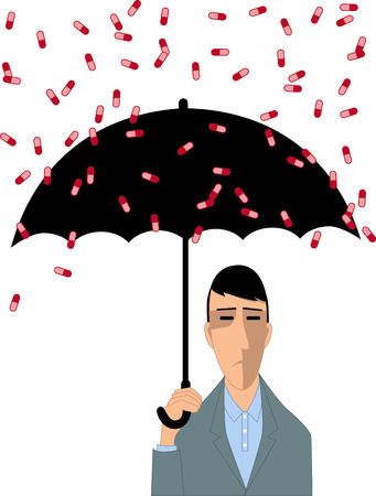 Depressed man with umbrella covering himself from a rain of pills vector illustration. Illustration