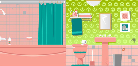 Interior of an outdated bathroom before renovation, vector illustration