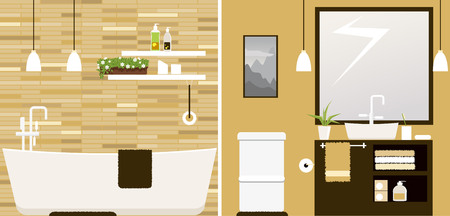 Interior of a modern freshly renovated bathroom. Çizim