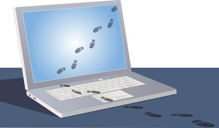 Digitale voetafdrukken die een laptopscherm oversteken en naar buiten volgen. Stock Illustratie
