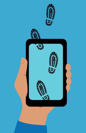 Hand die een telefoon met digitale voetafdrukken houdt die het scherm kruisen.