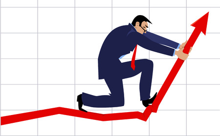 Businessman bending a graph upwards as a metaphor for a growth hacking illustration