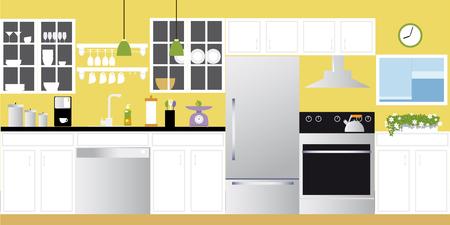 Intérieur d'une illustration de cuisine moderne fraîchement rénovée Banque d'images - 92189374